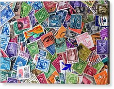A Collection Of Used Us Postage Stamps Off Paper Acrylic Print by Jack R Perry