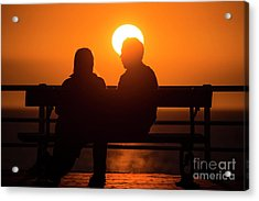 A Couple Sitting At Sunset Acrylic Print