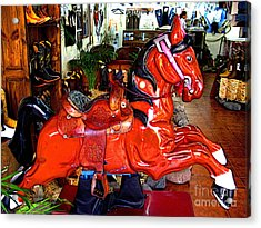 A Cowboy's Horse Acrylic Print by Mexicolors Art Photography