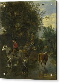 A Cowherd Passing A Horse And Cart In A Stream Acrylic Print by Jan Siberechts