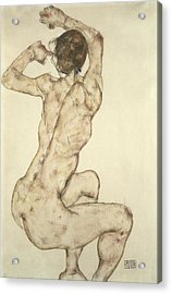 A Crouching Nude Acrylic Print by Egon Schiele