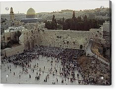 A Crowd Gathers Before The Wailing Wall Acrylic Print by James L. Stanfield