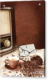A Cup Of Coffee With Newspaper And Radio Acrylic Print by Wolfgang Steiner