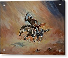 A Dash For Cover Racing Oncoming Sandstorm   Acrylic Print