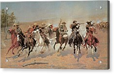 A Dash For The Timber Acrylic Print by Frederic Remington