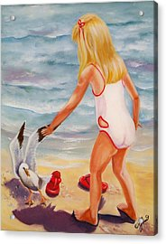 A Day At The Beach Acrylic Print by Joni McPherson