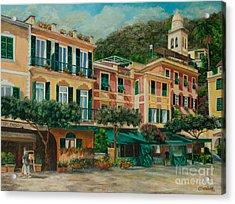 A Day In Portofino Acrylic Print by Charlotte Blanchard