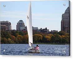 a day on the Charles Acrylic Print by Robyn Leakey