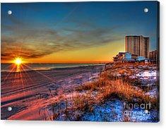 A December Beach Sunset Acrylic Print