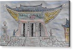 A Decisive Battle By Taikan Acrylic Print by Taikan Nishimoto
