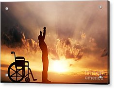 A Disabled Man Standing Up From Wheelchair Acrylic Print