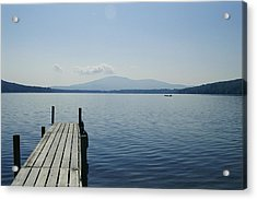 A Dock Juts Into The Acrylic Print by Stacy Gold