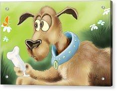 A Dog And His Bone Acrylic Print by Hank Nunes