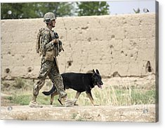 A Dog Handler Of The U.s. Marine Corps Acrylic Print by Stocktrek Images