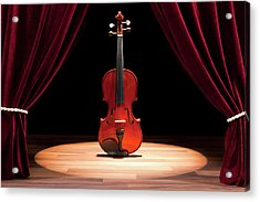 A Double Bass On A Theatre Stage Acrylic Print by Caspar Benson
