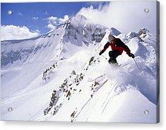 A Downhill Skier Launching Acrylic Print by Gordon Wiltsie