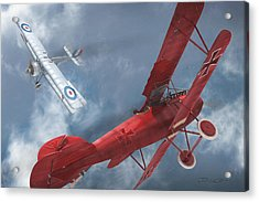 A Duel Begins - The Red Baron Acrylic Print by David Collins