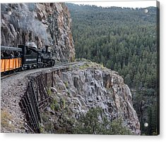 A Durango And Silverton Narrow Gauge Scenic Railroad Train Along A San Juan Mountains Precipice Acrylic Print by Carol M Highsmith