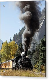 Acrylic Print featuring the photograph A Durango And Silverton Narrow Gauge Scenic Railroad Train Chugs Through The San Juan Mountains by Carol M Highsmith