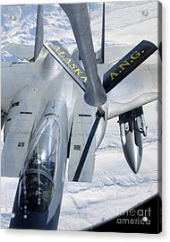 A F-15 Eagle Refuels Behind A Kc-135 Acrylic Print by Stocktrek Images