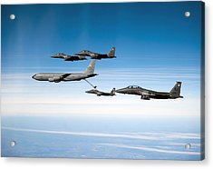 A F-15e Strike Eagle Is Refueled Acrylic Print by Stocktrek Images
