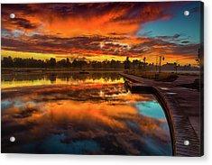 A Fall Sunrise Acrylic Print by John De Bord
