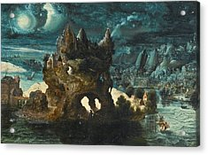 A Fantastical Moonlit Landscape With Saint Christopher Carrying The Christ Child Across A River Acrylic Print