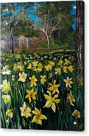 Acrylic Print featuring the painting A Field Of Daffodils by Ray Khalife