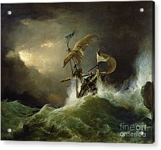 A First Rate Man Of War Driven Onto A Reef Of Rocks, Floundering In A Gale  Acrylic Print by George Philip Reinagle