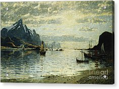 A Fjord Scene With Sailing Vessels Acrylic Print by Adelsteen Normann