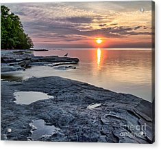 A Flat Rock Sunset With Seagull Acrylic Print
