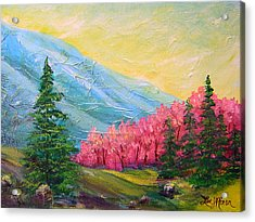 Acrylic Print featuring the painting A Florid View Of The Blue Ridge by Lee Nixon
