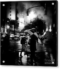 A Foggy Night In New York Town - Checkered Umbrella Acrylic Print