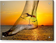 A Foot In The Sunset Acrylic Print