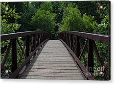 A Footbridge To The Woods Acrylic Print by Barbara McMahon
