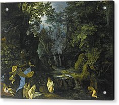 A Forest Landscape With Bathing Nymphs And Leda And The Swan Acrylic Print by Roelandt Savery