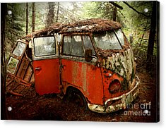 A Forgotten 23 Window Vw Bus  Acrylic Print by Michael David Sorensen