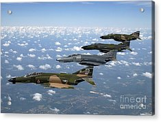 A Formation Of F-4 Phantom II Fighter Acrylic Print by Stocktrek Images
