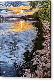 A Fraser River Sunset Acrylic Print