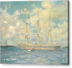 A French Barque In Falmouth Bay Acrylic Print by Henry Scott Tuke