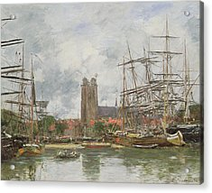 A French Port Acrylic Print by Eugene Louis Boudin