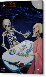 A Friendly Game Of Bones Acrylic Print by George Chacon