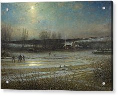 A Frosty Night   The Frozen Mill Pond Acrylic Print