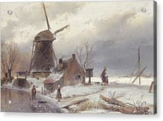 A Frozen River Landscape With A Windmill Acrylic Print by Andreas Schelfhout