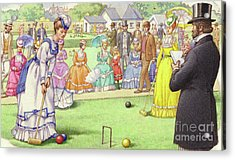 A Game Of Croquet At The All England Club At Wimbledon Acrylic Print by Pat Nicolle