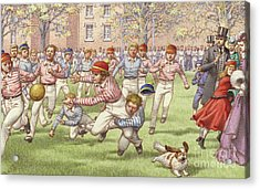A Game Of Rugby Football Being Played At Rugby School Acrylic Print by Pat Nicolle