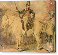 A Gamekeeper On A Horse And Another Man Conversing Acrylic Print by William Henry Hunt