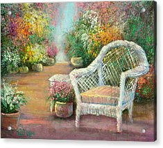 A Garden Chair Acrylic Print by Sally Seago