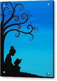 A Girl And Her Book Acrylic Print