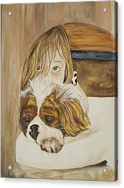 A Girl And Her Puppy Acrylic Print by Tabitha Marshall
